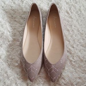 New! Ateliermix Pointed Toe Diamond Ballet Flats